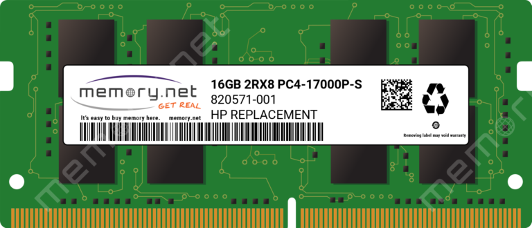 820571-001 - 1x 16GB DDR4-2133 SODIMM PC4-17000P-S Dual Rank x8 Replacement